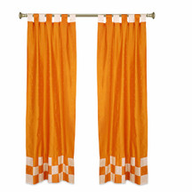 2 Eclectic Orange Indian Check Sari Curtains Tab Top drapes