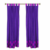 2 Eclectic Purple Indian Lavender Check Sari Curtains Tab Top drapes