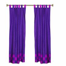 2 Eclectic Purple Indian Lavender Check Sari Curtains Tab Top drapes