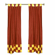 2 Eclectic Rust Indian Yellow Check Sari Curtains Tab Top drapes