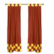 2 Eclectic Rust Indian Yellow Check Sari Curtains Tab Top drapes
