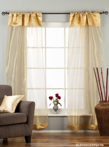 "Golden Rod Pocket Sheer Tissue Curtain / Drape / Panel - 84"" - Piece"