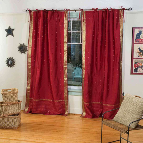 Maroon  Tie Top  Sheer Sari Curtain / Drape / Panel  - Pair
