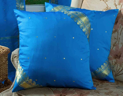 Enchanting Blue- handcrafted Cushion Cover, Throw Pillow case Euro Sham-6 Sizes