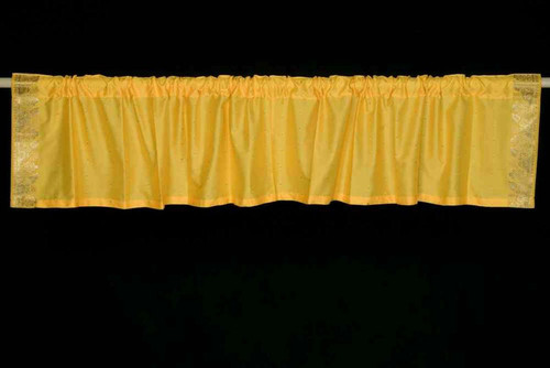 Yellow - Rod Pocket Top It Off handmade Sari Valance - Pair