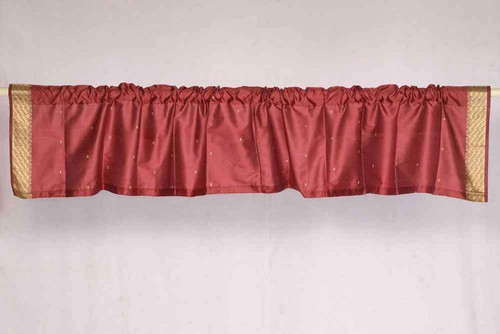 Maroon - Rod Pocket Top It Off handmade Sari Valance - Pair