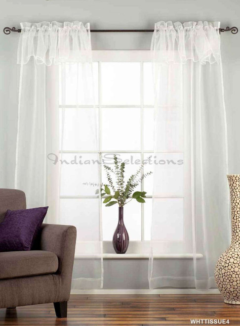 """White Rod Pocket w/ attached Valance Sheer Tissue Curtain/Drape/Panel-84""""-Piece"""