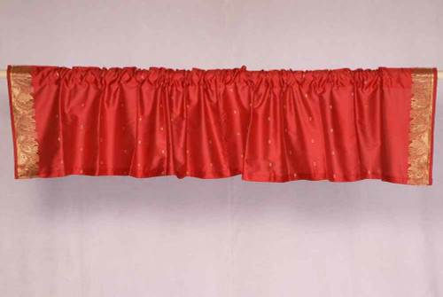 Fire Brick - Rod Pocket Top It Off handmade Sari Valance - Pair