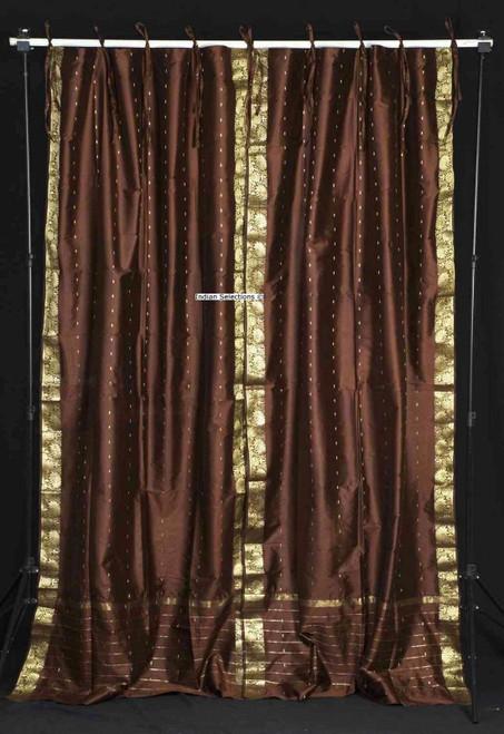 Brown  Tie Top  Sheer Sari Curtain / Drape / Panel  - Piece