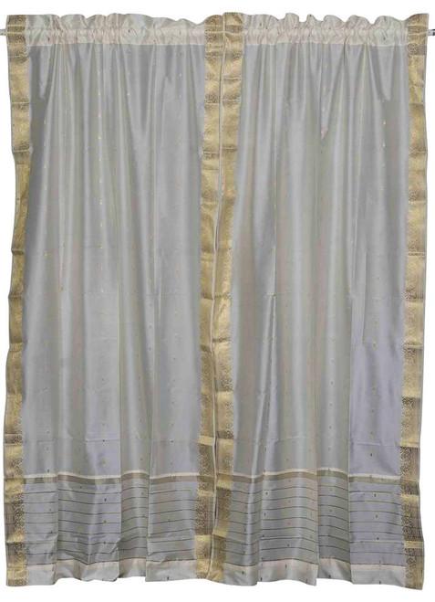 Cream Rod Pocket  Sheer Sari Curtain / Drape / Panel  - Piece