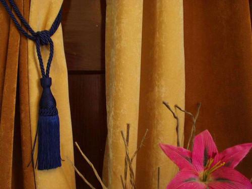Pair - Blue Decorative handmade Tiebacks / Tassel / Curtain Holdback