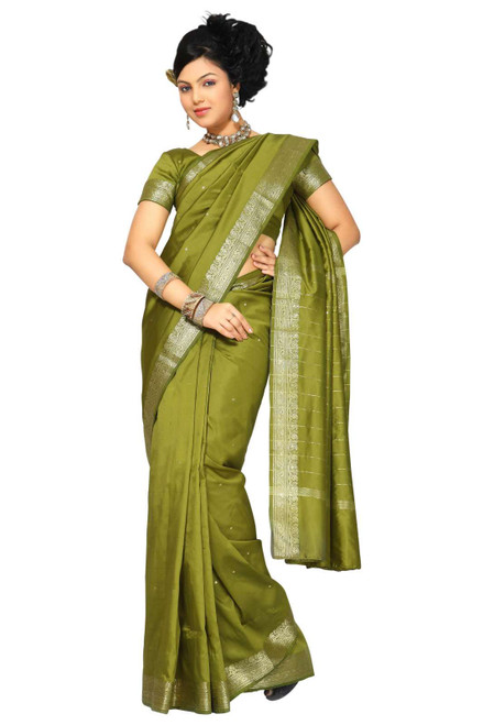 Olive Green Art Silk Saree Sari fabric India Golden Border