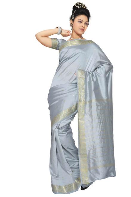 Gray Art Silk Saree Sari fabric India Golden Border