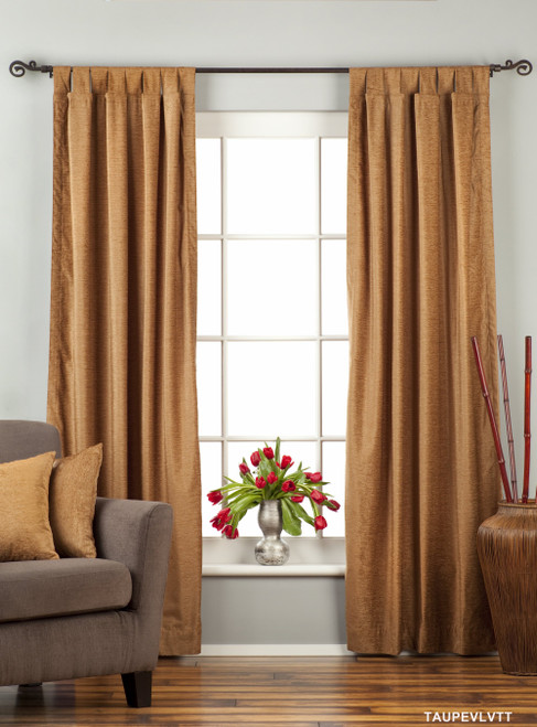 Taupe Tab Top  Velvet Curtain / Drape / Panel  - Piece