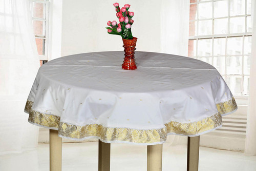 White Gold - Handmade Sari Tablecloth (India) - Round