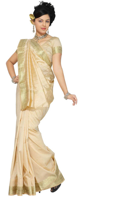 Golden Art Silk Saree Sari fabric India Golden Border