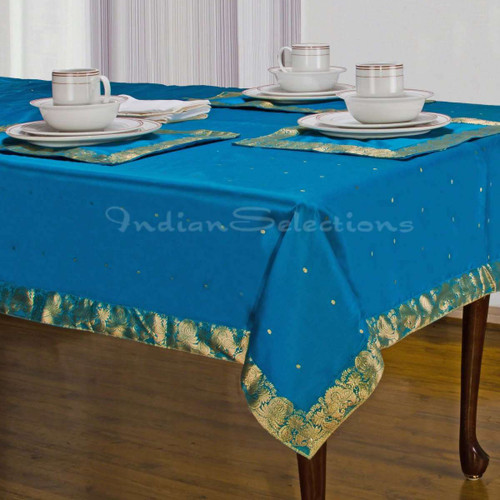 Turquoise - Handmade Sari Tablecloth (India)