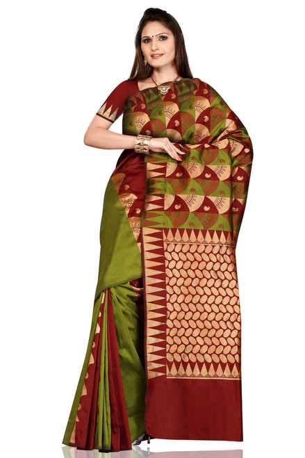 Olive Green with Maroon Art Silk Sari Saree bellydance wrap