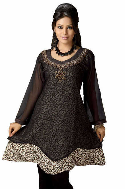 Black Georgette Flair style Kurti Indian Tunic
