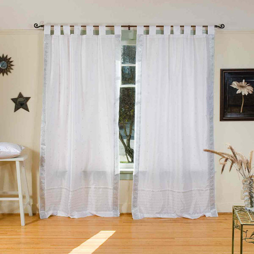 White Silver  Tab Top  Sheer Sari Curtain / Drape / Panel  - Pair