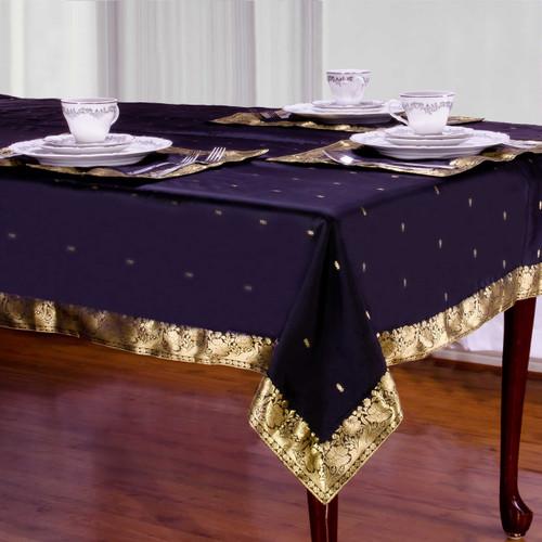 Black - Handmade Sari Tablecloth (India)