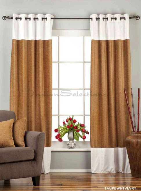Signature Taupe and White ring top velvet Curtain Panel - Piece