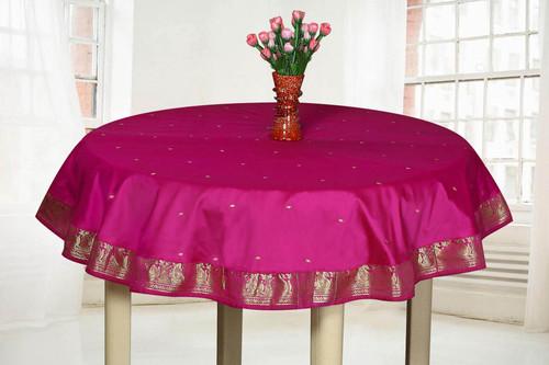 Violet Red - Handmade Sari Tablecloth (India) - Round