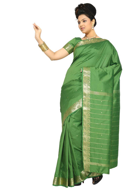 Forest Green Art Silk Saree Sari fabric India Golden Border