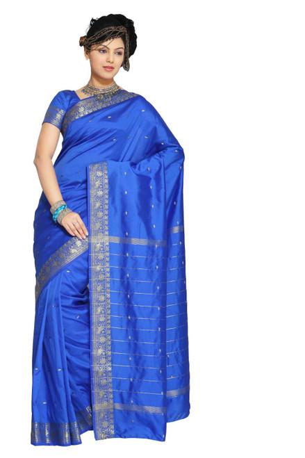 Enchanting Blue Art Silk Saree Sari fabric India Golden Border