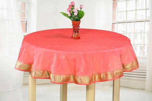 Pink - Handmade Sari Tablecloth (India) - Round