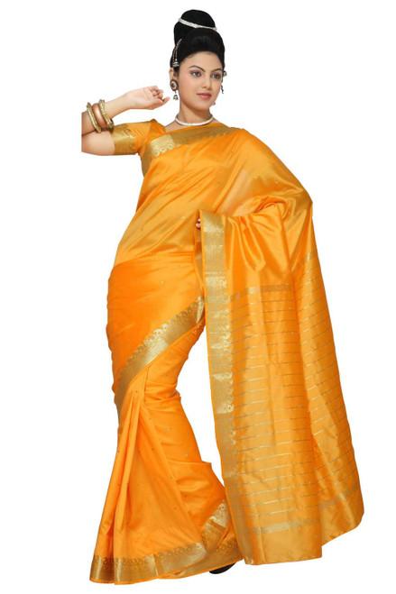 Pumpkin Art Silk Saree Sari fabric India Golden Border