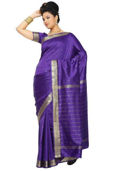 Purple Art Silk Saree Sari fabric India Golden Border