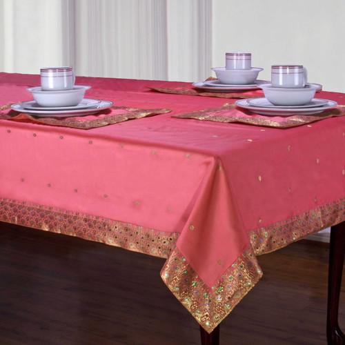 Pink - Handmade Sari Tablecloth (India)