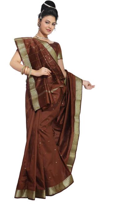Brown Art Silk Saree Sari fabric India Golden Border