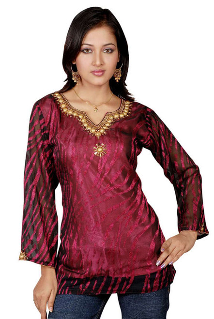 Burgundy long sleeves Kurti/Tunic with designer bead work