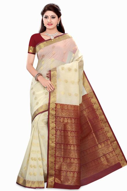 Rhea Off-white Art Silk Sari Saree Bellydance Wrap