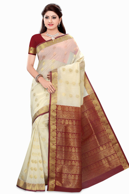 Rhea Off-white Art Silk Sari Saree Bellydance Wrap