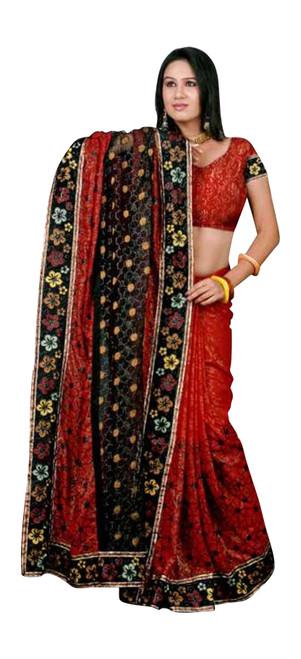 Gunnika Georgettee Sari saree with Embroidery