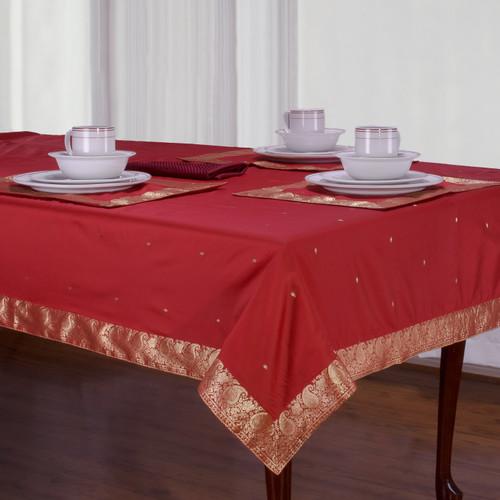 Maroon - Handmade Sari Tablecloth (India)