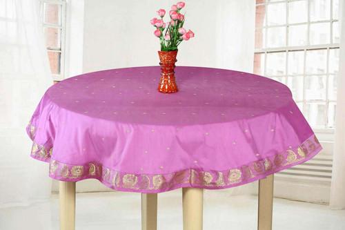 Lavender  - Handmade Sari Tablecloth (India) - Round