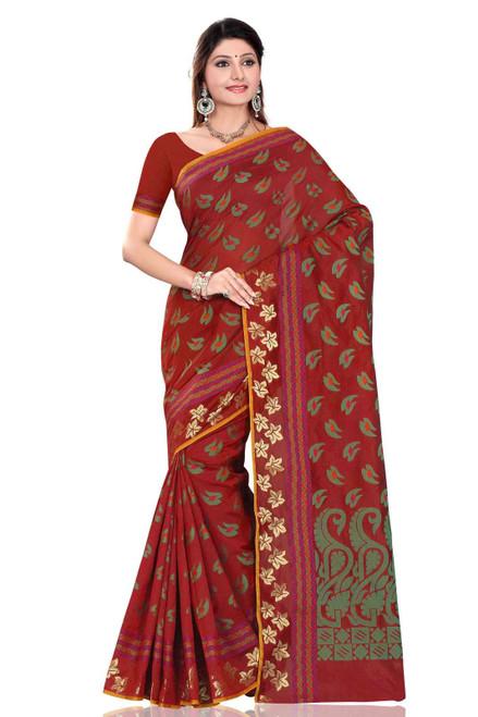 Maroon with green leaf art Silk Indian saree Sari Wrap bellydance fabric