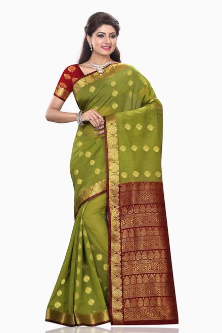 Mona Green with Maroon Art Silk Sari Saree Bellydance Wrap