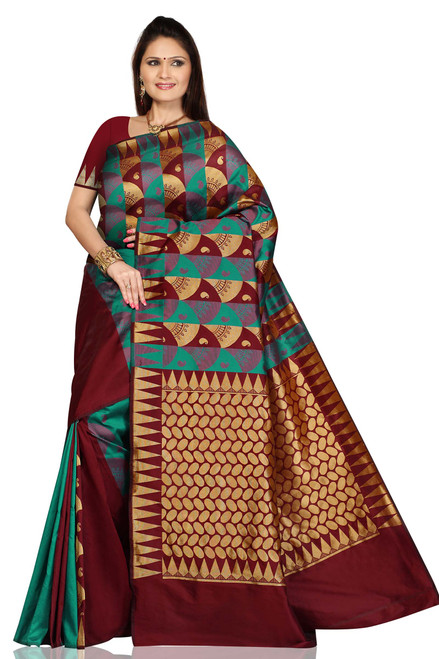 Turquoise Maroon Art Silk Sari Saree bellydance wrap