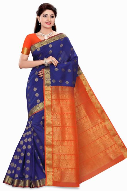 Avni Blue with Orange Art Silk Sari Saree Bellydance Wrap