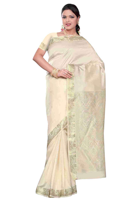 Cream -  Benares Art Silk Sari / Saree/Bellydance Fabric (India)
