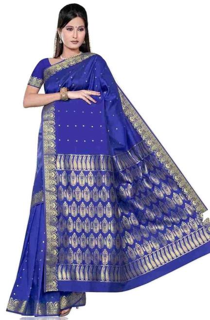 Blue -  Benares Art Silk Sari / Saree/Bellydance Fabric (India)