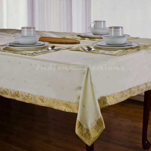 Cream - Handmade Sari Tablecloth (India)