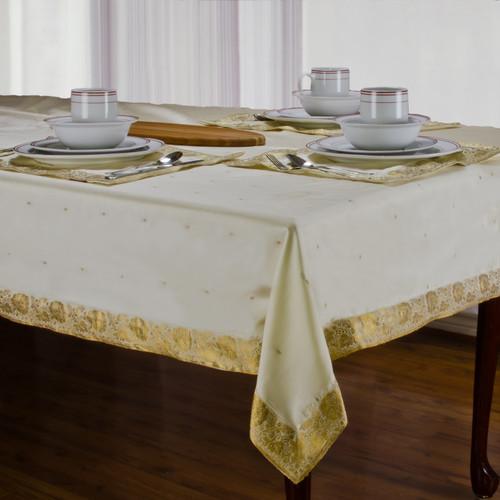 Cream - Handmade Sari Tablecloth (India)