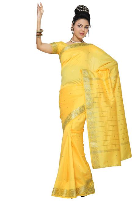 Yellow Art Silk Saree Sari fabric India Golden Border