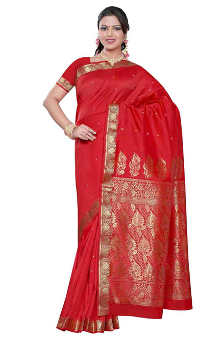 Spicy red -  Benares Art Silk Sari / Saree/Bellydance Fabric (India)